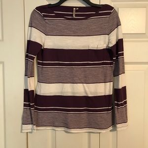 BANANA REPUBLIC Small Purple White Stripe T-Shirt